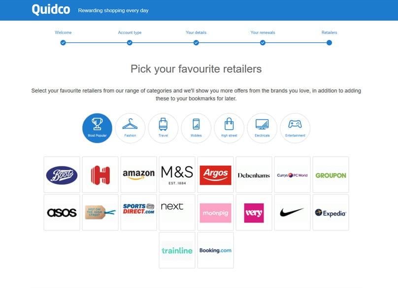 Quidco Retailers