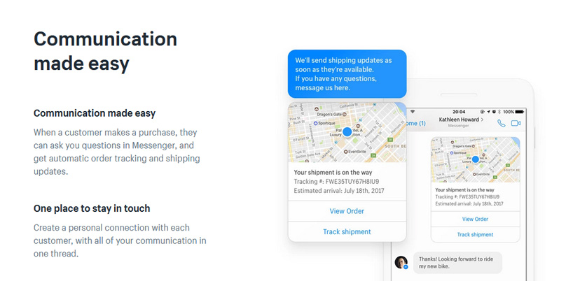Facebook messenger shipping updates