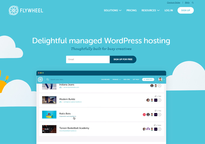 Flywheel hosting homepage