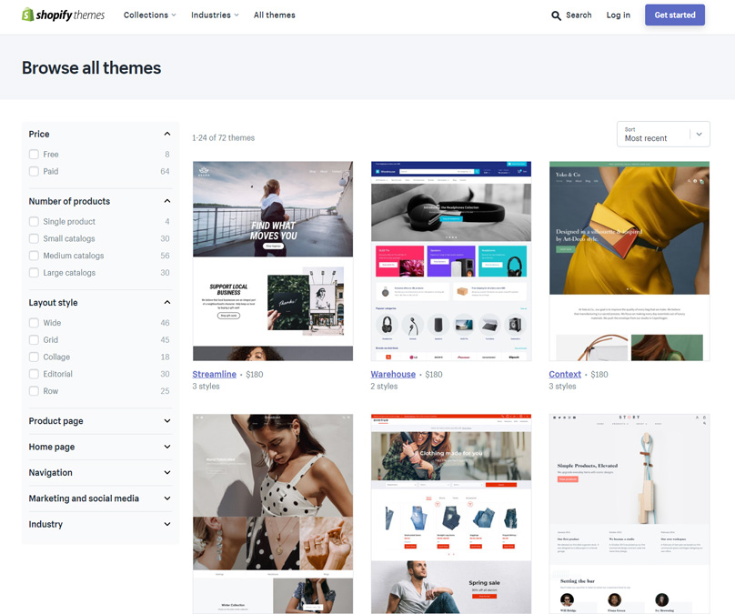 Shopify has a range of well-designed themes