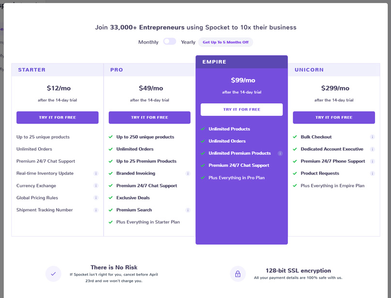 Spocket Pricing Plans