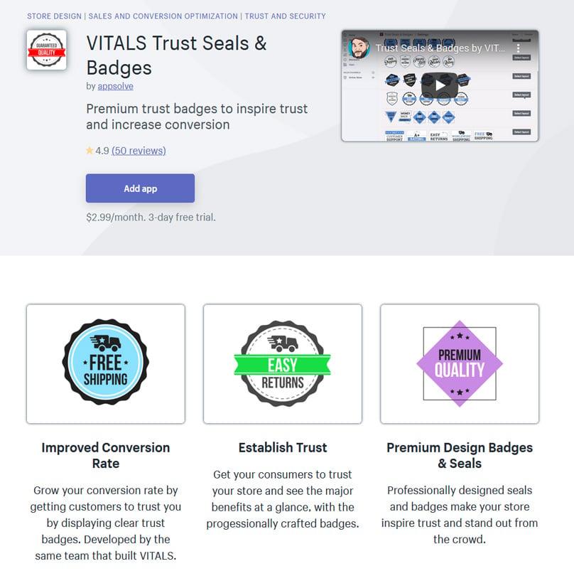 VITALS Trust Seals & Badges