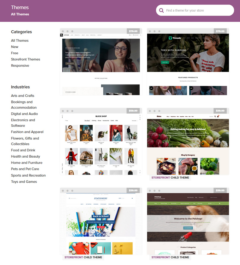 Woocommerce has thousands of themes to choose from