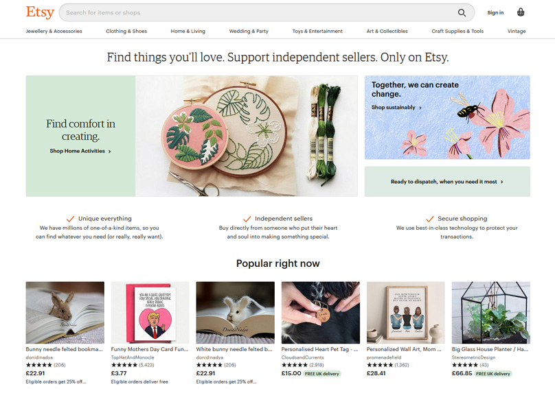 Etsy Homepage