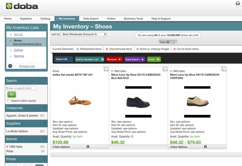 Your inventory within the Doba Dashboard