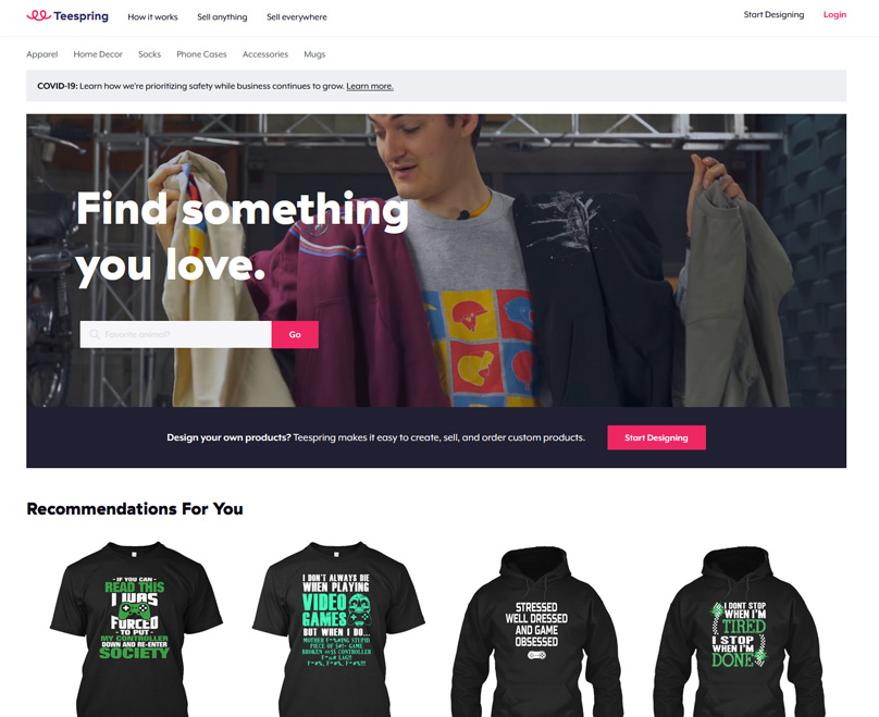 Teespring focuses on Custom T-Shirt designs