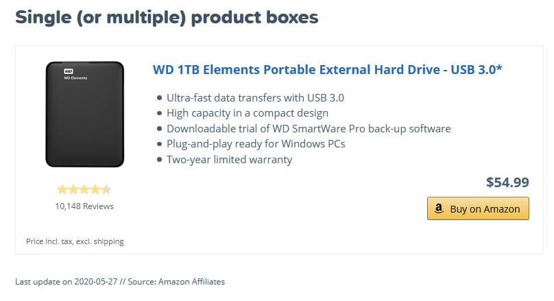 Single Product Box