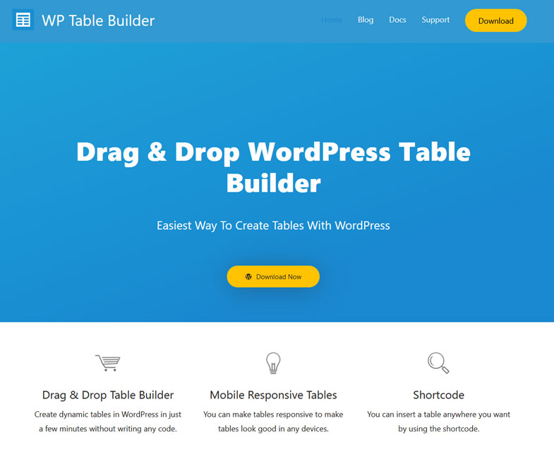 Drag & Drop WordPress Table Builder